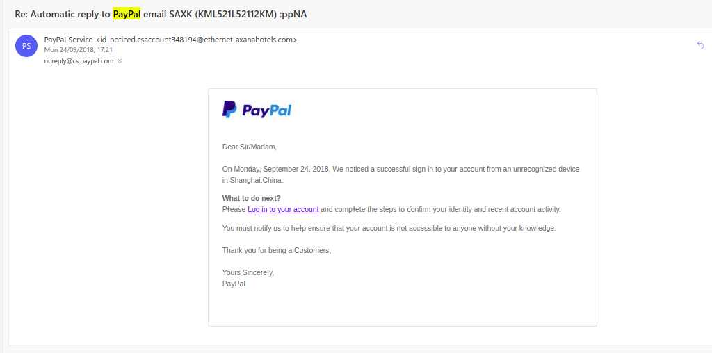example of fake email